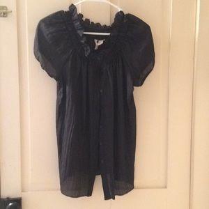 Black sheer dress top